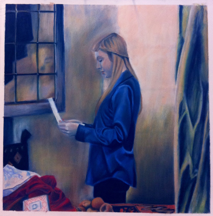 Girl Reading a Letter Through an Open Window (Self Portrait)