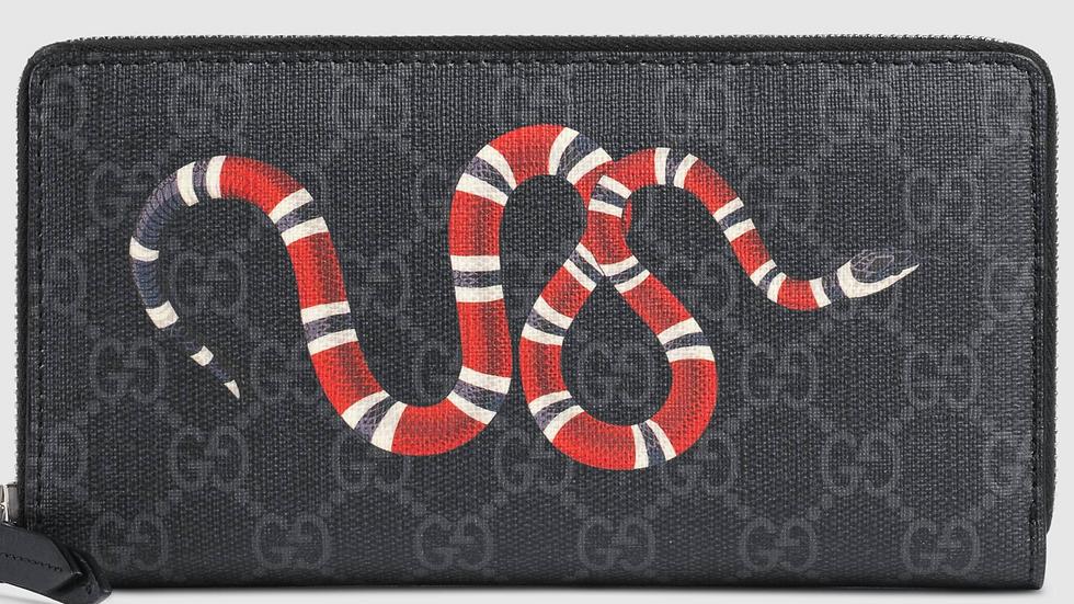 Kingsnake print GG Supreme zip around wallet