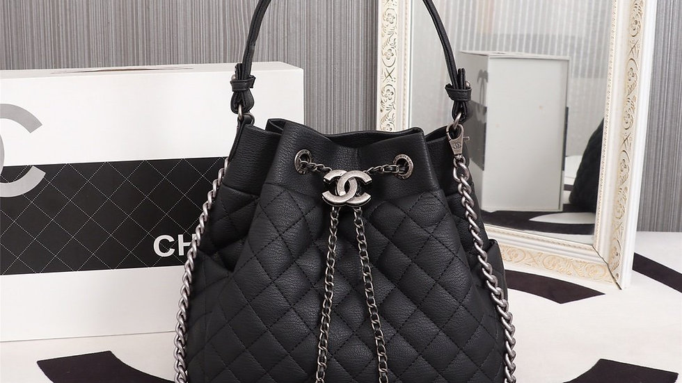 CHANEL Black Quilted Lambskin Leather Drawstring Chain Bucket Bag