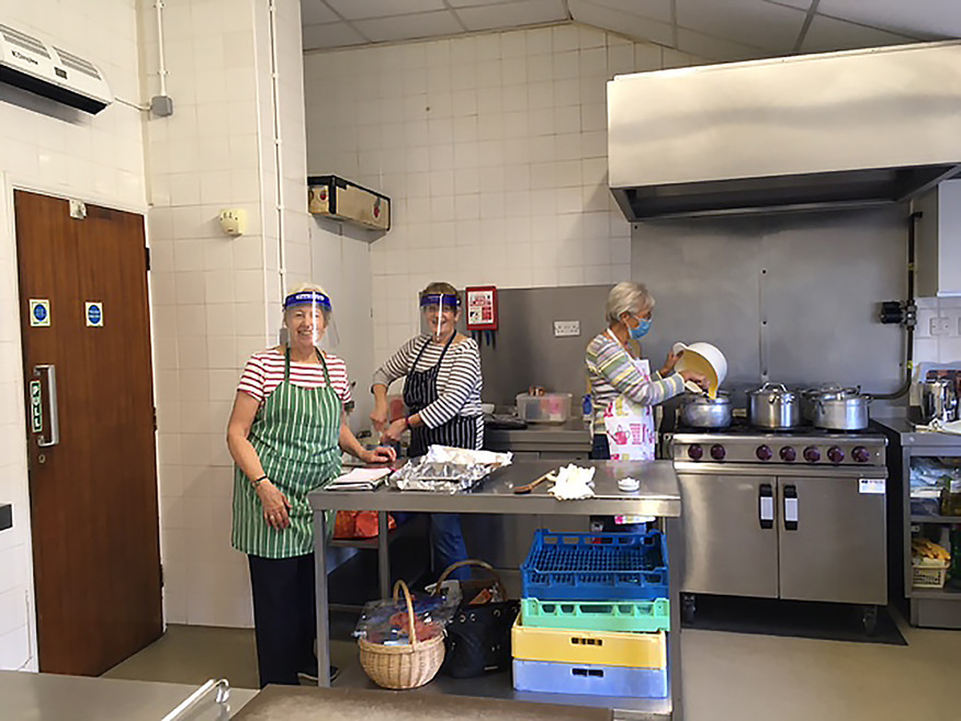 Lunch Club Volunteers in the Kitchen, Jubilee Hall