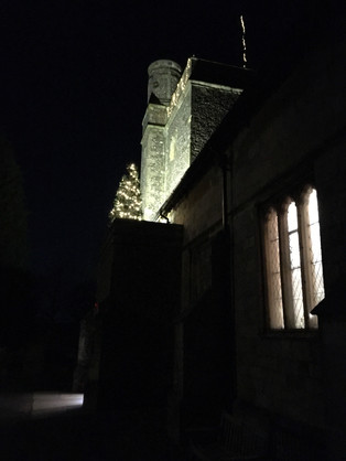 Approaching St Peter's Church for the Christmas Midnight Service.