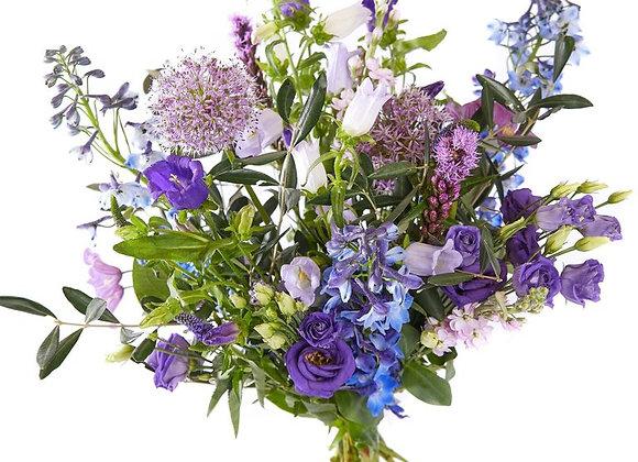 Gemengd boeket paars/lila/roze