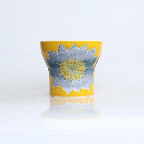 波佐見焼 二重構造 キーポ フリーカップ 花柄 黄 イエロー