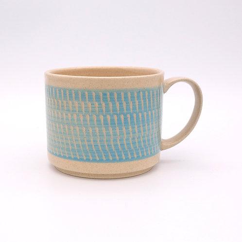 波佐見焼  飛び鉋 色カンナ マグカップ 水色 ブルー