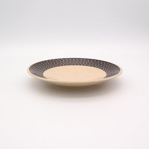 波佐見焼 飛び鉋 色カンナ ソーサー 取り皿 茶 ブラウン