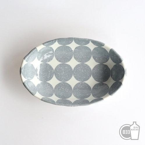 美濃焼 どドット マルチシェル皿 グレー