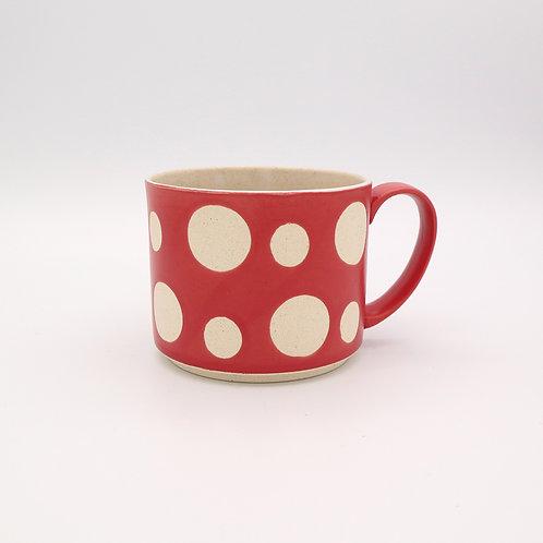 波佐見焼  水玉 ドット マグカップ 赤 マットレッド