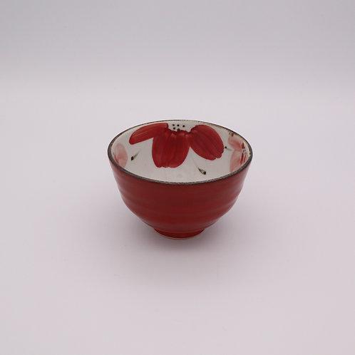 波佐見焼 花々 茶碗 赤