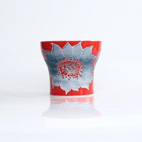 波佐見焼 二重構造 キーポ フリーカップ 花柄 赤 レッド