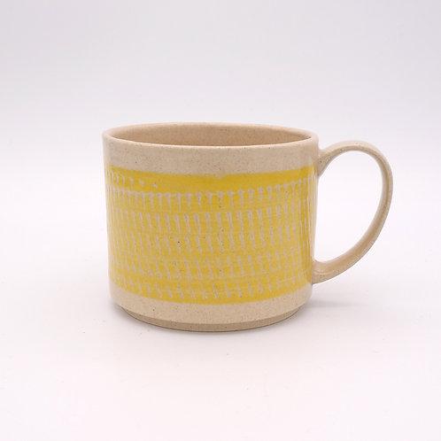 波佐見焼  飛び鉋 色カンナ マグカップ 黄 イエロー
