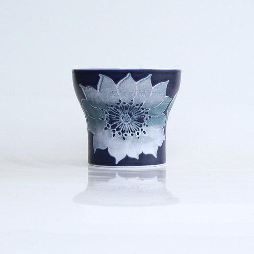 波佐見焼 二重構造 キーポ フリーカップ 花柄 青 ブルー