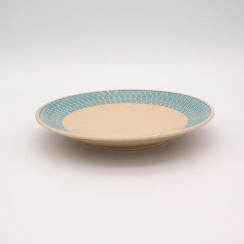 波佐見焼 飛び鉋 色カンナ ソーサー 取り皿 水色 ブルー