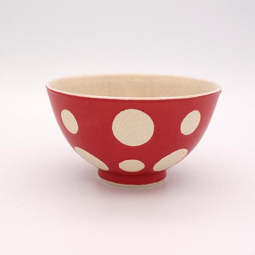 波佐見焼  水玉 ドット 茶碗 赤 マットレッド