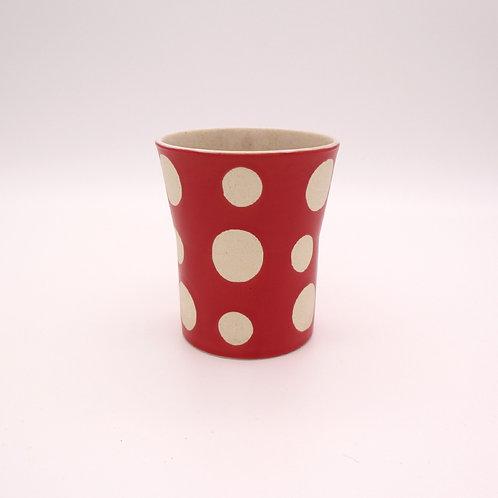 波佐見焼 フリーカップ ドット 水玉 赤