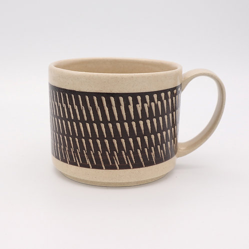 波佐見焼  飛び鉋 色カンナ マグカップ 茶 ブラウン