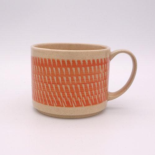 波佐見焼  飛び鉋 色カンナ マグカップ 橙 オレンジ