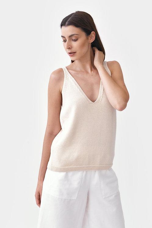 MILA.VERT - Knitted strap top cream