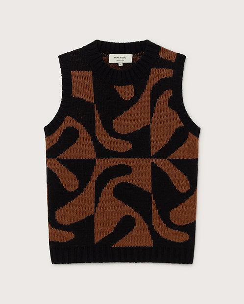 THINKING MU - Knitted vest zabawa brown