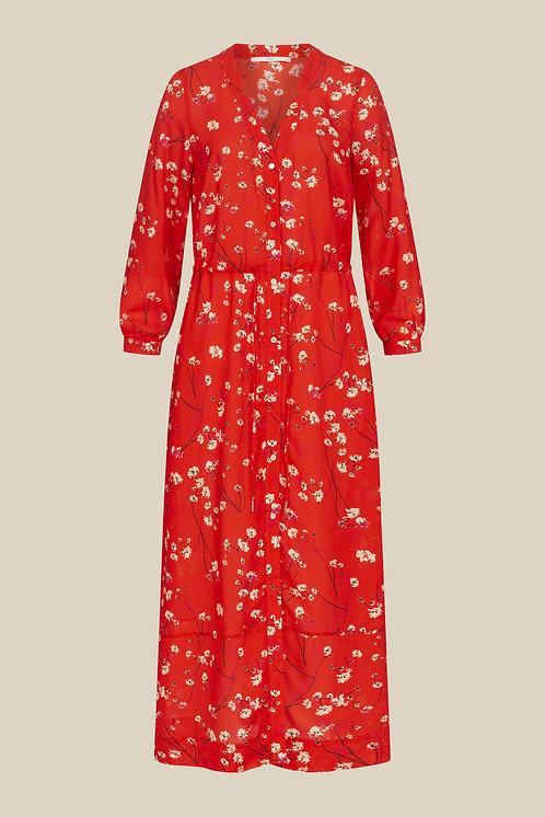 LANIUS - Midi dress moonflower red
