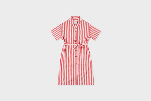 ROTHOLZ - Bowling shirt dress red/white striped