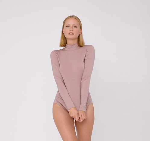 ORGANIC BASICS - tencel lite turtleneck dusty rose
