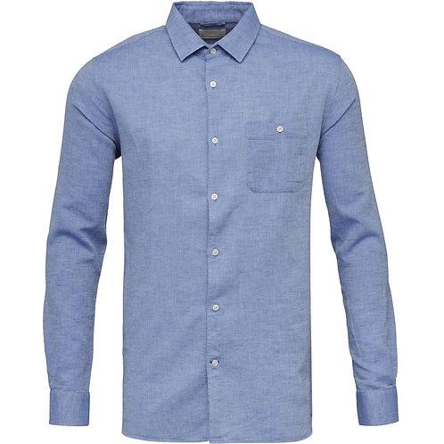KCA - Larch LS structured linen shirt strong blue