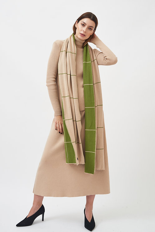 MILA.VERT -  checked scarf cream/green