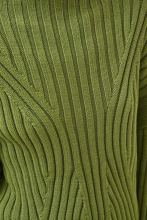 MILA.VERT -  High boatneck  pullover green