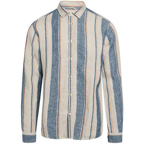 KCA - Larch striped linnen shirt cardinal