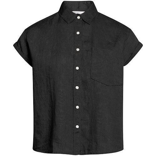KCA - Aster fold up sleeve linen shirt black jet