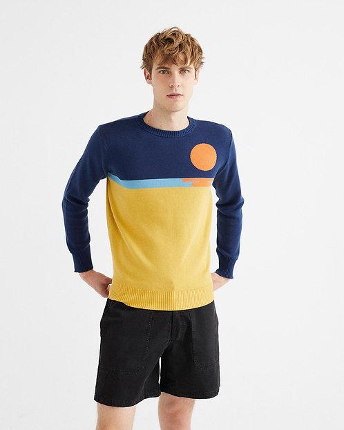 THINKING MU - Sunset knitted sweater navy