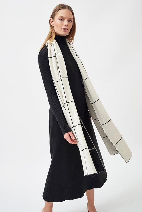 MILA.VERT -  checked scarf cream/black