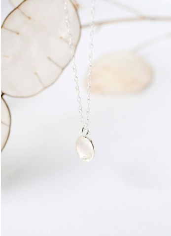 WILD FAWN - organic disc pendant necklace silver