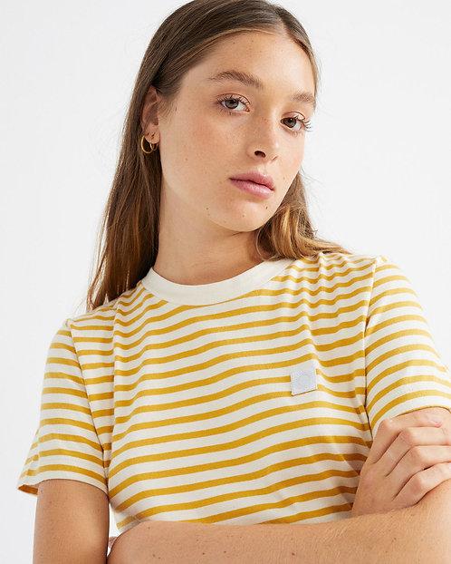 THINKING MU - stripes t-shirt mustard