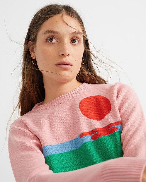 THINKING MU - Sunset knit sweater pink
