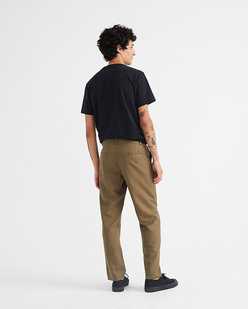 THINKING MU - Marcelino pants  hemp green