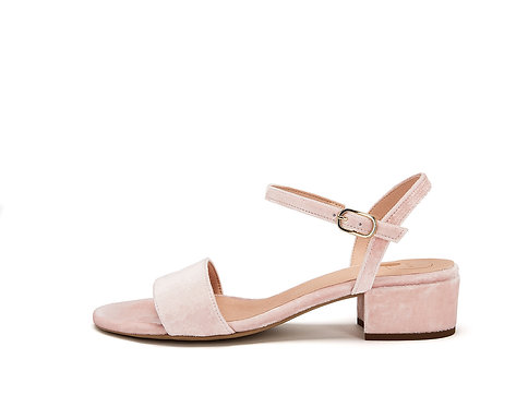 NINE TO FIVE - Strappy sandal powder velvet