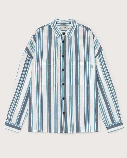 THINKING MU - Gambia shirt blue stripes