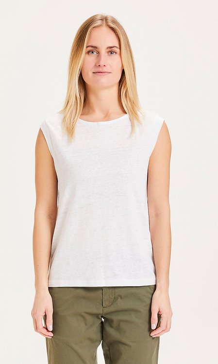 KCA - Violet loose fold up linen tee bright white