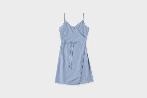 ROTHOLZ -  Wrap dress navy  oxford stripe