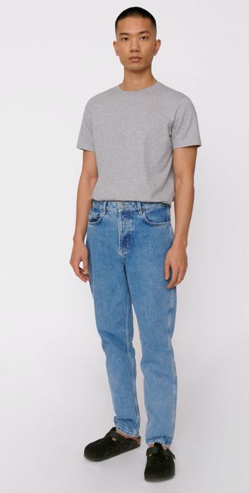 ORGANIC BASICS - circular denim 5 pocket jeans men washed