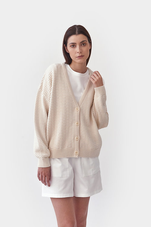 MILA.VERT - Knitted relief button down cardigan cream