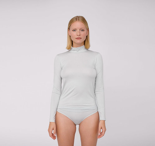 ORGANIC BASICS - tencel lite turtleneck cloudy blue