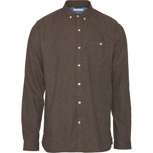 KCA - Elder reg fit flannel shirt dark earth