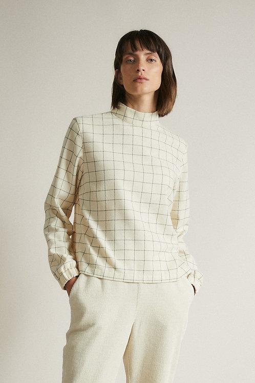 LANIUS - Flanel shirt stand op collar cream