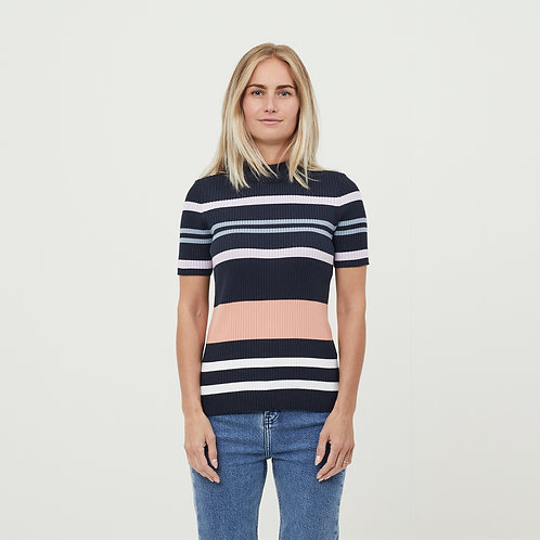 KCA - high neck knit top total eclipse multi