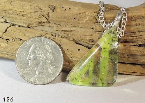 Medium Striped Green Powder Glass Triangle Necklace