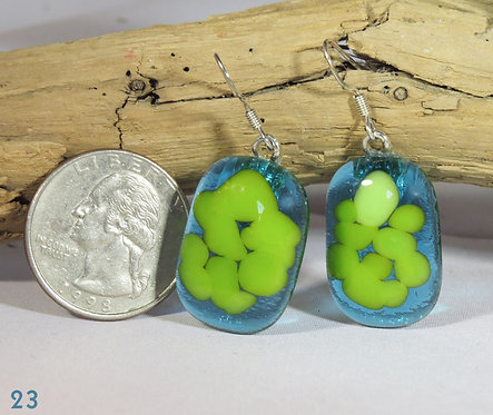 Large Turquoise & Spring Green Glass Earrings