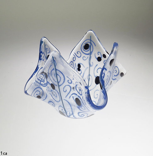 Blue Swirl Glass Candle Holders