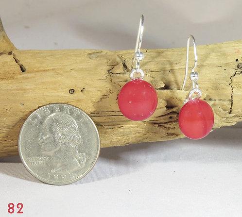 Small Opal Red Glass Hook Earrings
